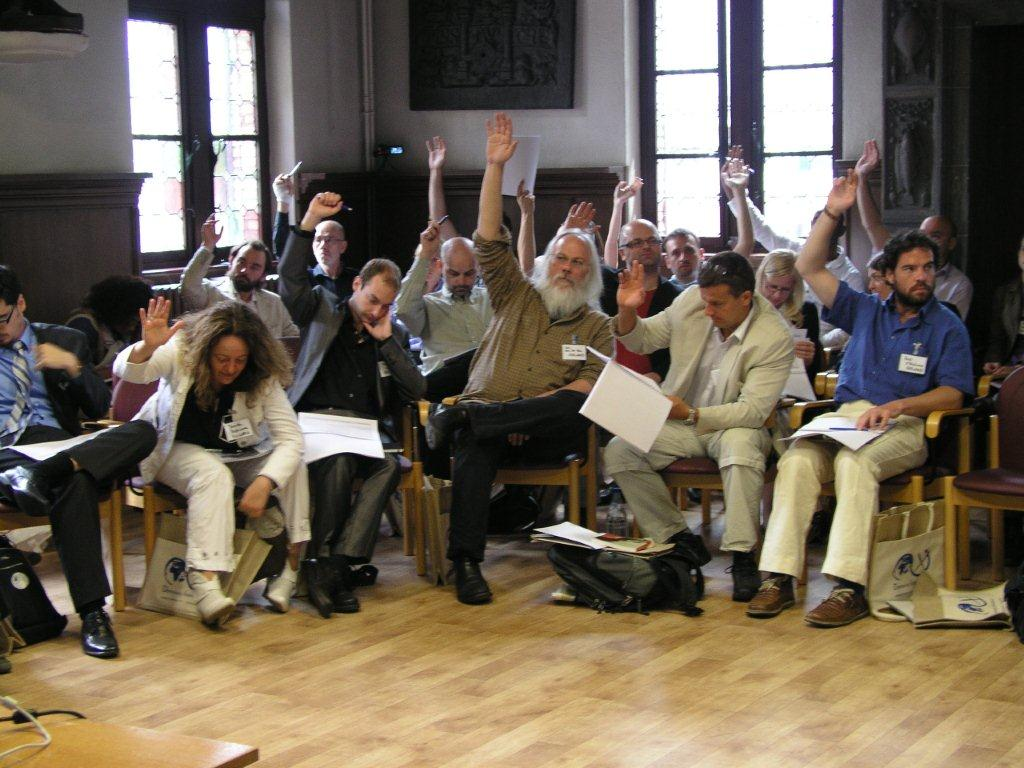 Participants at the Democracy International founding meeting