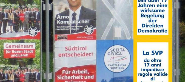 Electoral posters of the SVP (left) boykotted by the Initiative for More Democracy (right)