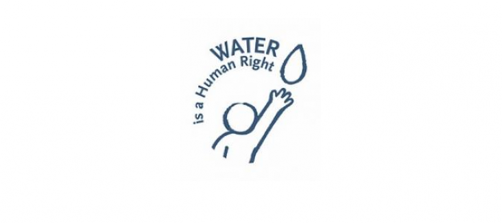 """The logo of the ECI """"Water is a human right"""""""