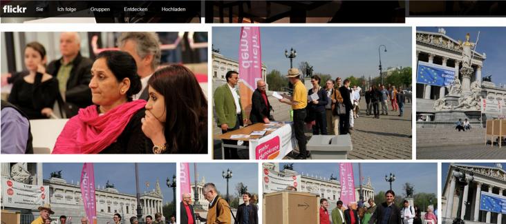 A screenshot of Democracy International's Flickr Channel