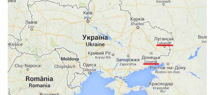 The regions of Donetsk and Luhansk in Eastern Ukraine. Image: Google Mapls
