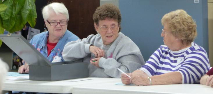 Women in Missouri about to count the votes on Election Day 2014