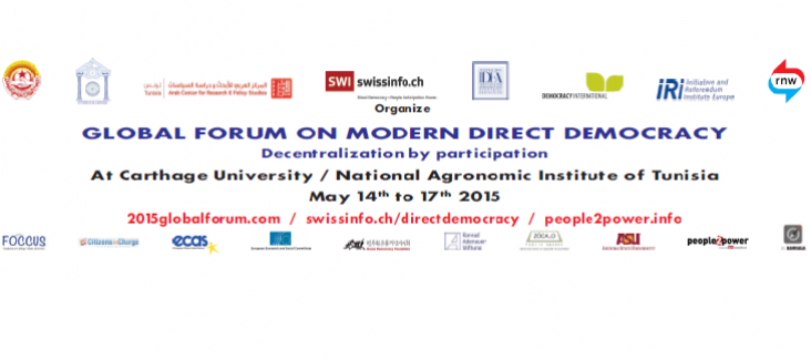 The banner of the Global Forum on Modern Direct Democracy