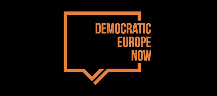 Logo of Democratic Europe Now! (orange)