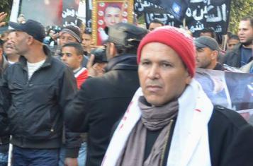 People commemorating Jasmine Revolution in Tunis on 14 January 2015
