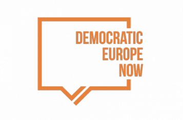 Logo of Democratic Europe Now! (orange)