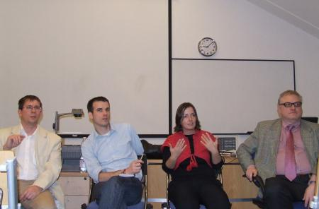 The panelists of the evening event in Andrássy University