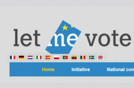"The logo of the ECI ""Let me vote"""
