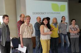 "The Slovak group ""Direct democracy"" presents itself to Democracy International's General Assembly in 2014"