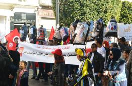 March in Tunis on 14 January 2015 to commemorate Jasmine Revolution