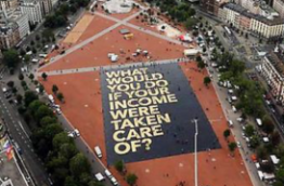 The world's biggest poster in Geneva, Switzerland. Source: Generation Grundeinkommen