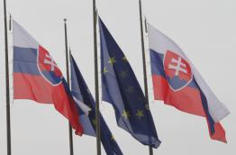 Flags of Slovakia and the EU in Bratislava