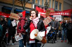 Woman demonstrating in Sweden. Image by Michael Erhardsson, all rights reserved (c)